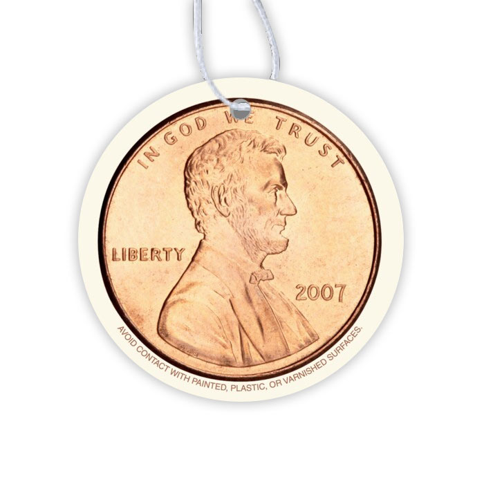 Paper Air Freshener - Full Color Lincoln Head Penny (Face Up)