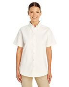Ladies' Foundation 100% Cotton Short-Sleeve Twill Shirt with Teflon