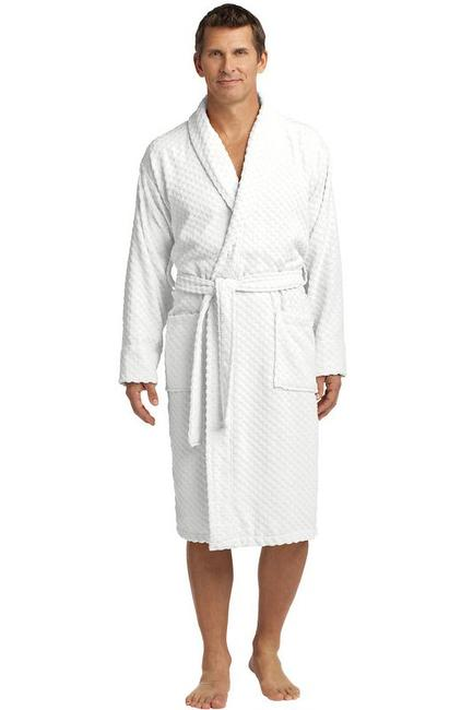Port Authority Checkered Terry Shawl Collar Robe