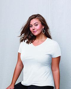 Ladies' JMS 4.5 oz., 100% Ringspun Cotton V-Neck T-Shirt