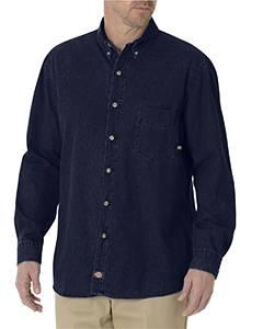 Unisex Tall Long-Sleeve Button-Down Denim Shirt
