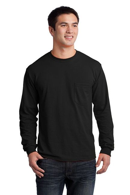 Gildan - Ultra Cotton 100% Cotton Long Sleeve T-Shirt with Pocket