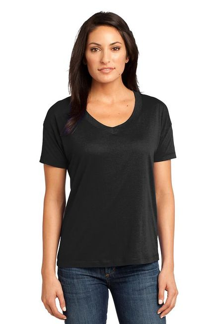 District Made - Ladies Modal Blend Relaxed V-Neck Tee