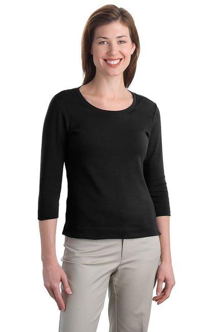 Port Authority - Ladies Modern Stretch Cotton 3/4-Sleeve Scoop Neck Shirt
