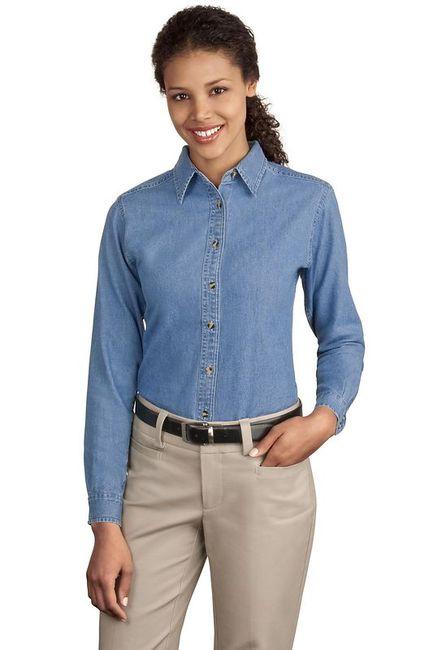 Port & Company - Ladies Long Sleeve Value Denim Shirt