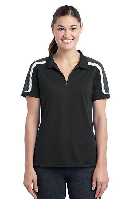 Sport-Tek - Ladies Tricolor Shoulder Micropique Sport-Wick Polo