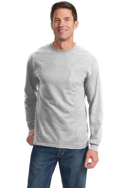 Port & Company - Long Sleeve Essential T-Shirt with Pocket