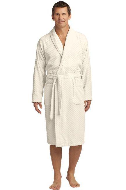 Port Authority Checkered Terry Shawl Collar Robe