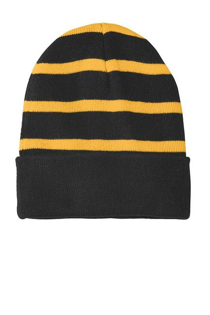 Sport-Tek Striped Beanie with Solid Band