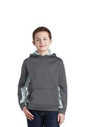 Sport-Tek Youth Sport-Wick CamoHex Fleece Colorblock Hooded Pullover