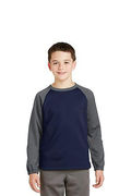 Sport-Tek Youth Sport-Wick Raglan Colorblock Fleece Crewneck
