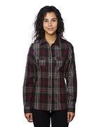 Ladies' Long-Sleeve Plaid Pattern Woven Shirt